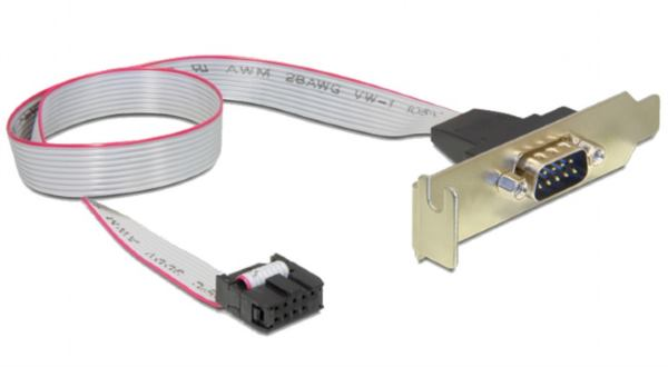 Gembird DB9 serial port receptacle on low-profile bracket, 40 cm flat cable