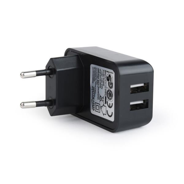 Gembird 2-port universal USB charger, 2.1 A, black