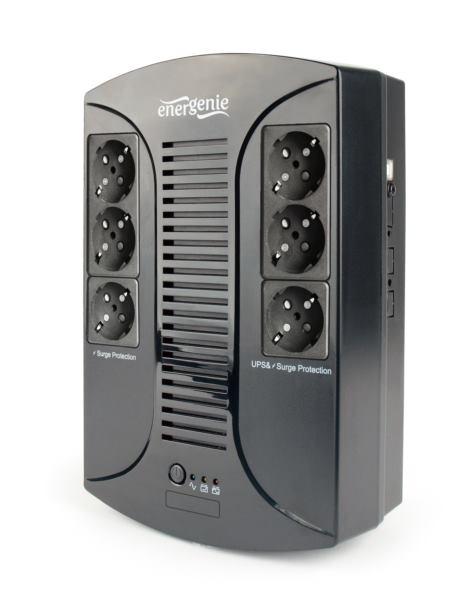 Gembird UPS with AVR, 650 VA, 6 Schuko sockets, USB