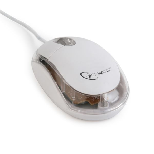 Gembird Optical mouse, USB, white transparent
