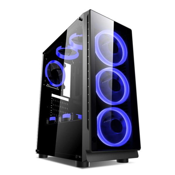 NaviaTec Gaming Case 4xLED Blue Color Ventilators, 2x USB 2.0, 1 USB3.0