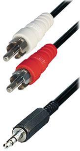 Transmedia Cable 2x RCA-plug - 3,5 mm stereo plug, 1,5m